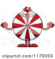 Cartoon Of A Mad Peppermint Candy Mascot Royalty Free Vector Clipart by Cory Thoman