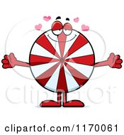 Cartoon Of A Loving Peppermint Candy Mascot With Open Arms Royalty Free Vector Clipart