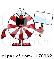 Cartoon Of A Happy Peppermint Candy Mascot Holding A Sign Royalty Free Vector Clipart