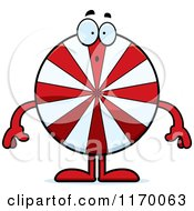Cartoon Of A Surprised Peppermint Candy Mascot Royalty Free Vector Clipart