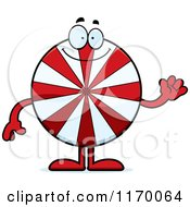 Cartoon Of A Waving Peppermint Candy Mascot Royalty Free Vector Clipart