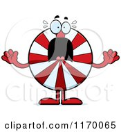 Cartoon Of A Screaming Peppermint Candy Mascot Royalty Free Vector Clipart