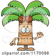 Cartoon Of A Waving Happy Coconut Palm Tree Mascot Royalty Free Vector Clipart by Cory Thoman