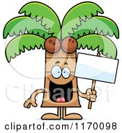 Cartoon Of A Happy Coconut Palm Tree Mascot Holding A Sign Royalty Free Vector Clipart by Cory Thoman