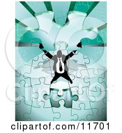Proud Successful Businessman Holding Up The Last Piece Of A Green Jigsaw Puzzle Before Completing It Clipart Illustration