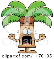 Cartoon Of A Scared Coconut Palm Tree Mascot Royalty Free Vector Clipart by Cory Thoman