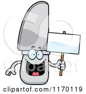 Cartoon Of A Happy Knife Mascot Holding A Sign Royalty Free Vector Clipart