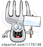 Cartoon Of A Happy Fork Mascot Holding A Sign Royalty Free Vector Clipart by Cory Thoman