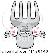 Cartoon Of A Loving Fork Mascot With Open Arms Royalty Free Vector Clipart