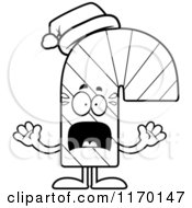 Cartoon Of An Outlined Outlined Screaming Candy Cane Mascot Royalty Free Vector Clipart