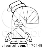 Cartoon Of An Outlined Depressed Candy Cane Mascot Royalty Free Vector Clipart