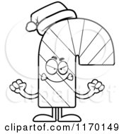 Cartoon Of An Outlined Mad Candy Cane Mascot Royalty Free Vector Clipart