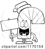 Cartoon Of An Outlined Happy Candy Cane Mascot Holding A Sign Royalty Free Vector Clipart