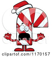 Cartoon Of A Screaming Candy Cane Mascot Royalty Free Vector Clipart