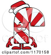 Cartoon Of A Depressed Candy Cane Mascot Royalty Free Vector Clipart by Cory Thoman