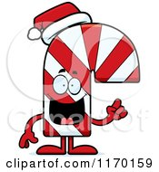 Cartoon Of A Candy Cane Mascot With An Idea Royalty Free Vector Clipart