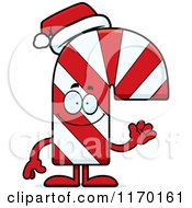Cartoon Of A Waving Candy Cane Mascot Royalty Free Vector Clipart