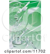 Silver Technology Scraps Exploding Over Green by AtStockIllustration