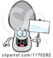 Cartoon Of A Happy Spoon Mascot Holding A Sign Royalty Free Vector Clipart