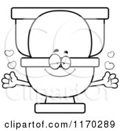 Cartoon Of An Outlined Loving Toilet Mascot Wanting A Hug Royalty Free Vector Clipart by Cory Thoman