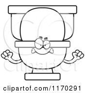 Cartoon Of An Outlined Mad Toilet Mascot Royalty Free Vector Clipart by Cory Thoman
