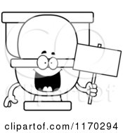 Cartoon Of An Outlined Happy Toilet Mascot Holding A Sign Royalty Free Vector Clipart by Cory Thoman