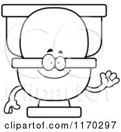 Cartoon Of An Outlined Waving Toilet Mascot Royalty Free Vector Clipart by Cory Thoman