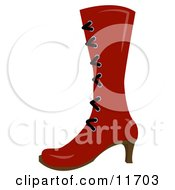 High Red Boot With Laces And A Heel Clipart Picture