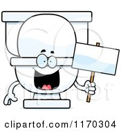 Cartoon Of A Happy Toilet Mascot Holding A Sign Royalty Free Vector Clipart by Cory Thoman