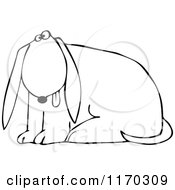 Cartoon Of An Outlined Dog Sitting With His Tongue Hanging Out Royalty Free Vector Clipart