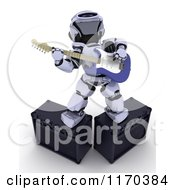 Clipart Of A 3d Robot Playing An Electric Guitar On Amps Royalty Free CGI Illustration by KJ Pargeter