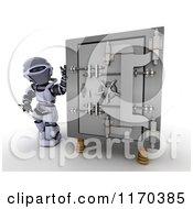 Poster, Art Print Of 3d Robot Standing By A Vault Safe