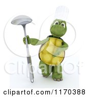 Clipart Of A 3d Tortoise Chef Presenting A Ladle Royalty Free CGI Illustration