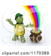 Clipart Of A 3d Tortoise Leprechaun By A Pot Of Gold At The End Of The Rainbow Royalty Free CGI Illustration