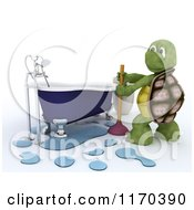 Clipart Of A 3d Plumber Tortoise Fixing A Bath Tub With A Plunger Royalty Free CGI Illustration by KJ Pargeter