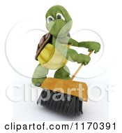 Clipart Of A 3d Tortoise Using A Shop Push Broom Royalty Free CGI Illustration by KJ Pargeter