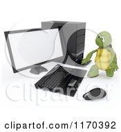 3d Tortoise Working On A Desktop Computer