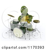 Clipart Of A 3d Tortoise Playing The Drums Royalty Free CGI Illustration by KJ Pargeter
