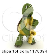 3d Musician Tortoise Playing A Saxophone