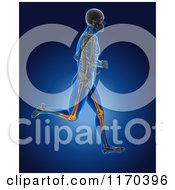 Clipart Of A 3d Blue Man Running With Highlighted Knees Royalty Free CGI Illustration
