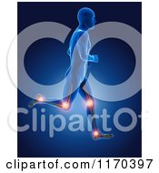 Clipart Of A 3d Blue Man Running With Visible Skeleton And Highlighted Knee And Ankle Joints Royalty Free CGI Illustration