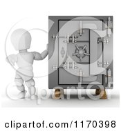 Poster, Art Print Of 3d White Character By A Vault Safe