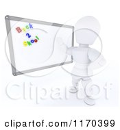 Clipart Of A 3d White Character Teacher With Back 2 Skool Magnets On A White Board Royalty Free CGI Illustration by KJ Pargeter