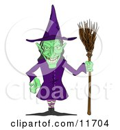 Ugly Green Witch With A Broom Clipart Illustration