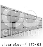 Clipart Of A 3d Wall Of Office Filing Cabinets With One Drawer Open Royalty Free CGI Illustration by KJ Pargeter