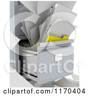 Clipart Of A 3d Messy File And Papers In A Cabinet Royalty Free CGI Illustration