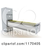 Clipart Of A 3d Long Open Office Filing Cabinet Drawer Royalty Free CGI Illustration