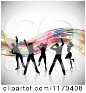 Clipart Of Silhouetted Dancers Over Colorful Waves On Gray Royalty Free Vector Illustration