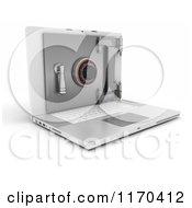 Clipart Of A 3d Secure Laptop Computer Vault Safe Royalty Free CGI Illustration
