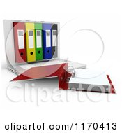 Clipart Of A 3d Laptop Computer With Office Binders In The Screen Royalty Free CGI Illustration